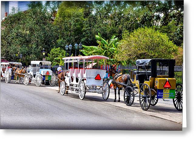Quarter Horse Digital Art Greeting Cards - Horse and Carriages at Jackson Square Greeting Card by Bill Cannon