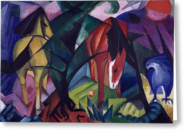 Best Sellers -  - Abstract Expressionist Greeting Cards - Horse and Eagle Greeting Card by Franz Marc