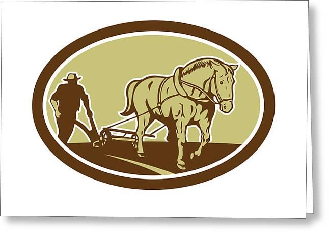 Farmers Field Digital Art Greeting Cards - Horse and Farmer Plowing Farm Oval Retro Greeting Card by Aloysius Patrimonio