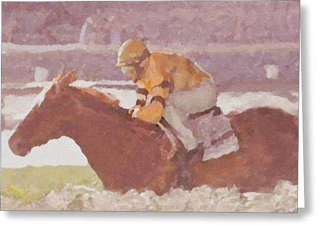 Bred Mixed Media Greeting Cards - Horse And Rider Greeting Card by Dennis Buckman