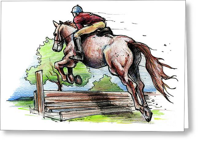 Editorial Mixed Media Greeting Cards - Horse and Rider Greeting Card by John Ashton Golden