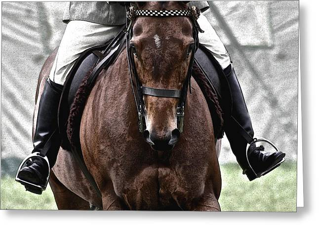 Riding Boots Digital Art Greeting Cards - Horse and Rider Greeting Card by Sally Lloyd