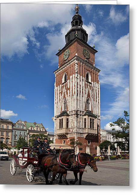 Market Square Greeting Cards - Horse And Trap Passing Wieza Ratuszowa Greeting Card by Panoramic Images