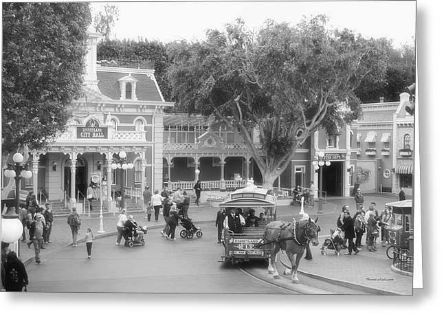 Main Street Corners Greeting Cards - Horse and Trolley Turning Main Street Disneyland BW Greeting Card by Thomas Woolworth