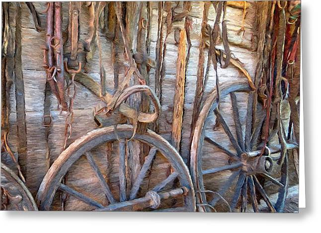 Wooden Wagons Mixed Media Greeting Cards - Horse and Wagon Gear Greeting Card by Digital Moments