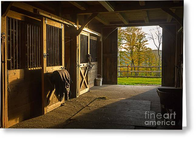 Stable Greeting Cards - Horse Barn Sunset Greeting Card by Edward Fielding