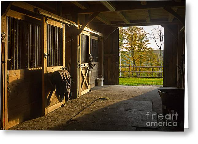 Horse Barn Sunset Greeting Card by Edward Fielding