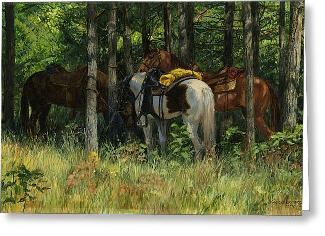Trail Ride Greeting Cards - Rest Stop - Big Creek Greeting Card by Don  Langeneckert