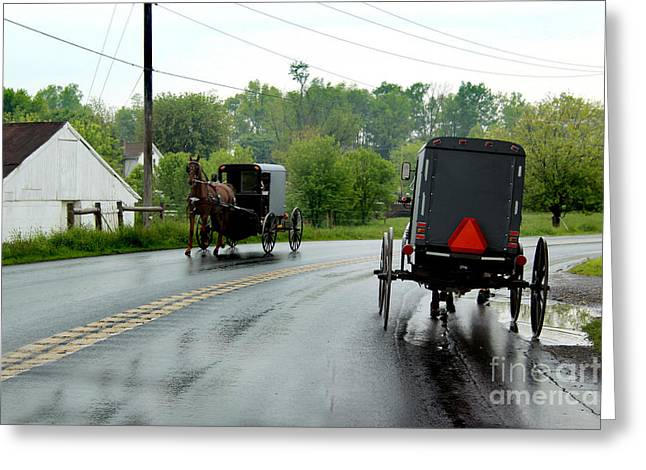 Old Roadway Greeting Cards - Horse Buggies on a Rainy Day Greeting Card by Karen Adams