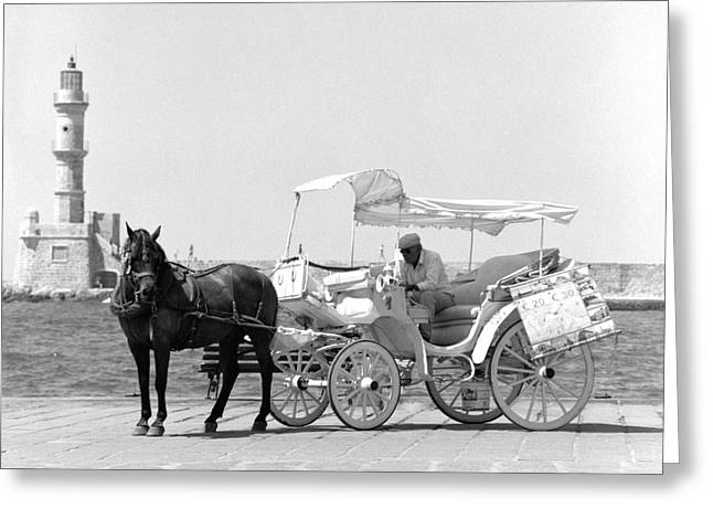 Buggy Whip Greeting Cards - Horse buggy and lighthouse Greeting Card by Paul Cowan