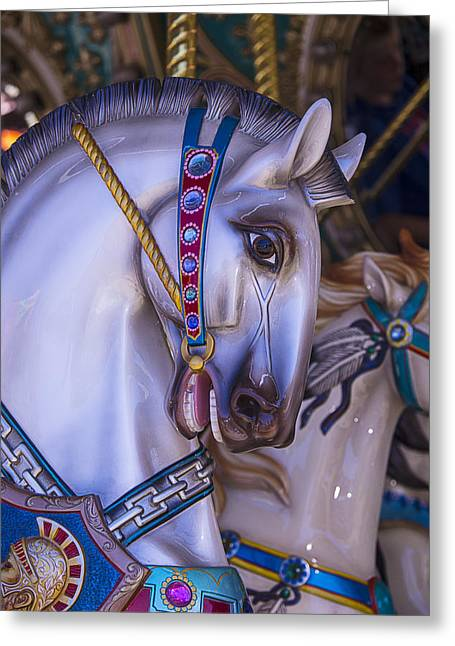 Amusements Greeting Cards - Horse Carousel Ride Greeting Card by Garry Gay