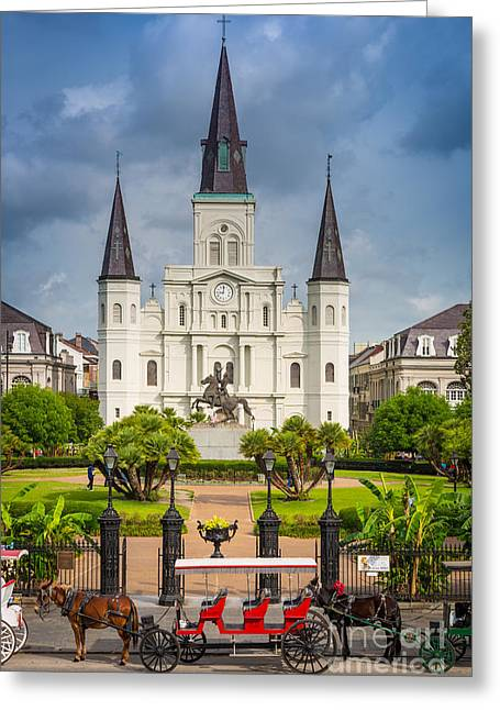 Cajun Greeting Cards - Horse Carriage at Jackson Square Greeting Card by Inge Johnsson