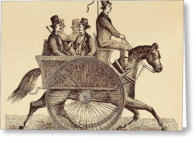 Horse Carriage Illustration Greeting Card by David Parker
