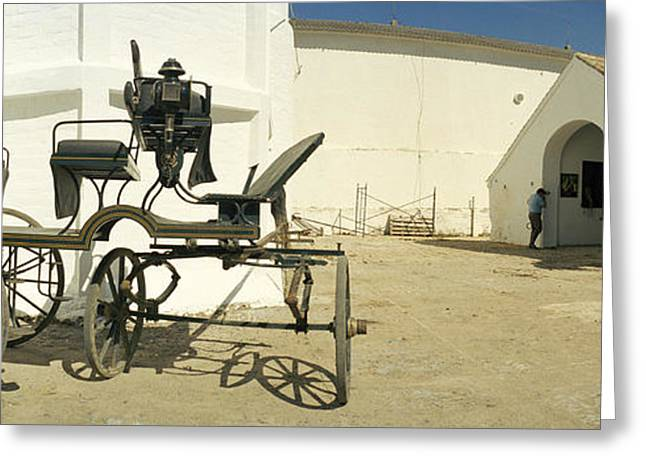 Person Greeting Cards - Horse Cart In Front Of A Hotel, Hotel Greeting Card by Panoramic Images