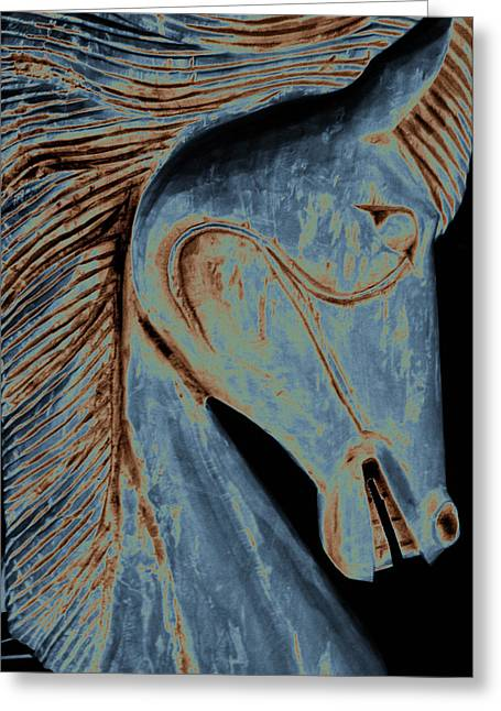 Manipulated Photography Greeting Cards - Horse Carving in Blue Greeting Card by Ann Powell