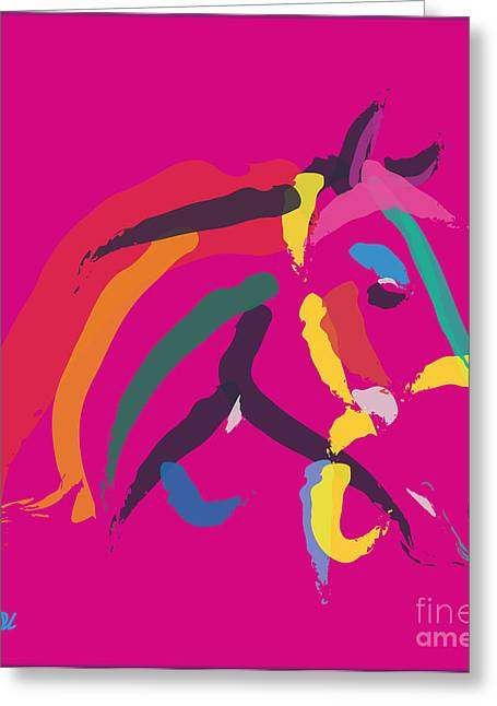 Visual Art Greeting Cards - Horse - Colour me strong Greeting Card by Go Van Kampen