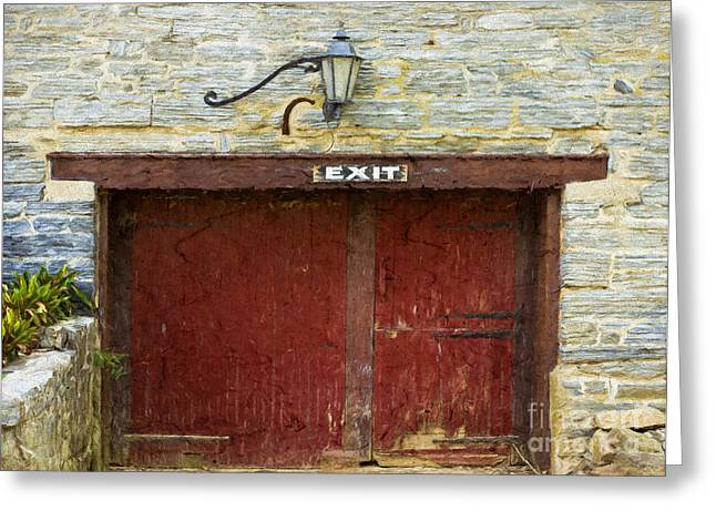 Grist Mill Greeting Cards - Horse Door at Grist Mill Greeting Card by Terry Weaver