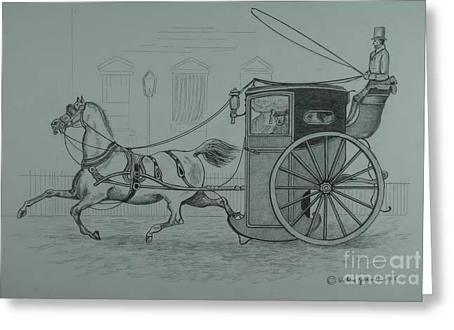 Hansom Cab Greeting Cards - Horse Drawn Cab 1846 Greeting Card by William Goldsmith