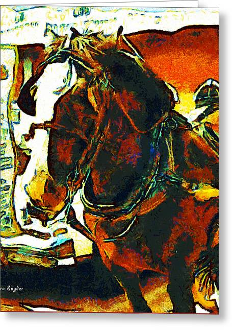Horse-drawn Digital Art Greeting Cards - Horse Drawn Carriage Greeting Card by Barbara Snyder