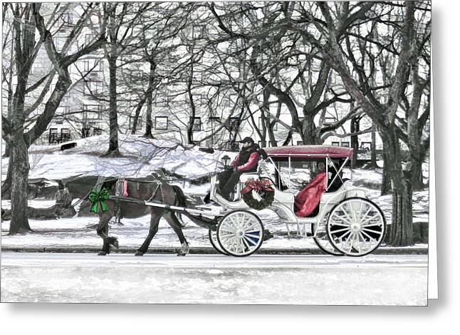 Hansom Cab Greeting Cards - Horse Drawn Carriage in NYC Greeting Card by Elaine Plesser