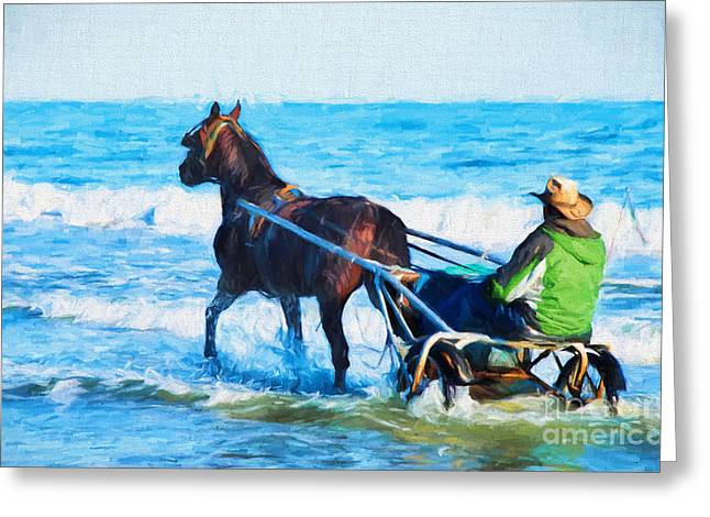 Horse And Cart Greeting Cards - Horse Drawn Carriage In The Ocean Digital Art Greeting Card by Vizual Studio