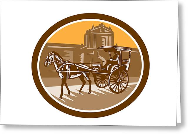 Horse-drawn Digital Art Greeting Cards - Horse-Drawn Carriage Intramuros Woodcut Retro Greeting Card by Aloysius Patrimonio