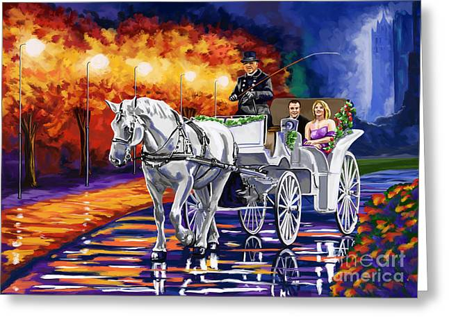 Horse Drawn Carriage Night Greeting Card by Tim Gilliland