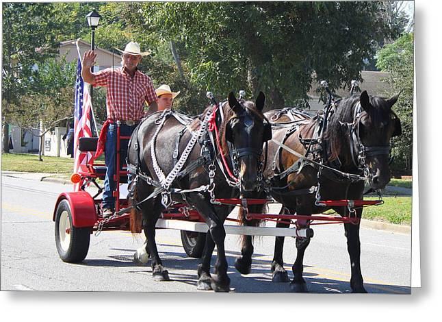 Horse Drawn Cart Greeting Card by Carolyn Ricks