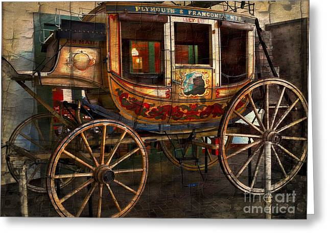 Horse Driven Wagon Greeting Cards - Horse Driven Stagecoach Greeting Card by Marcia Lee Jones