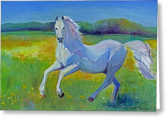 Fanticy Impressionism Greeting Cards - Horse Fancy Greeting Card by Gwen Carroll