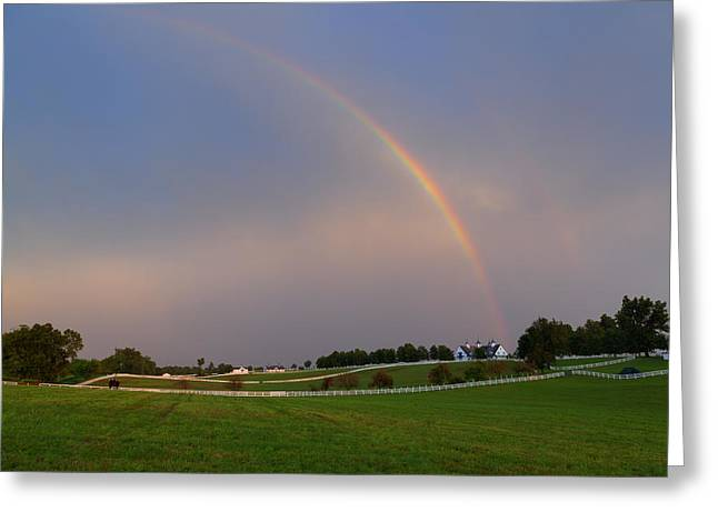 Double Rainbow Greeting Cards - Horse Farm After the Storm Greeting Card by Alexey Stiop