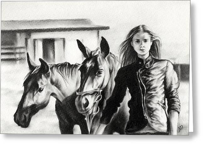 Silhouettes Of Horses Greeting Cards - Horse Farm Greeting Card by Natasha Denger