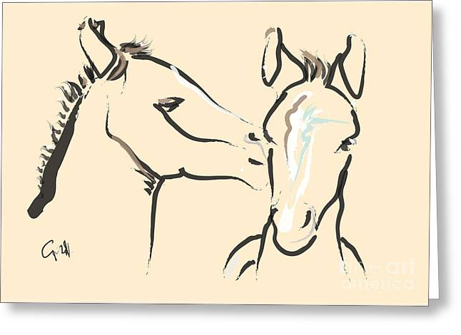 Filly Art Greeting Cards - Horse-Foals-Together 6 Greeting Card by Go Van Kampen
