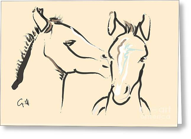 Horse-foals-together 6 Greeting Card by Go Van Kampen