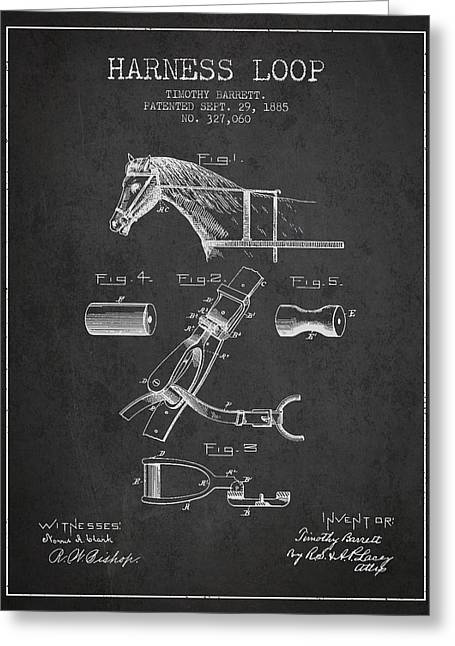Tack Greeting Cards - Horse Harness Loop Patent from 1885 - Dark Greeting Card by Aged Pixel
