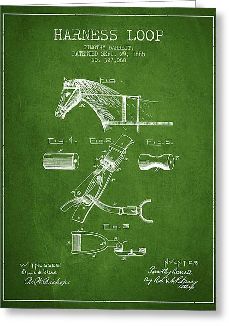 Tack Greeting Cards - Horse Harness Loop Patent from 1885 - Green Greeting Card by Aged Pixel
