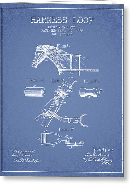 Tack Greeting Cards - Horse Harness Loop Patent from 1885 - Light Blue Greeting Card by Aged Pixel