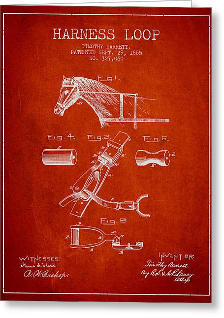 Tack Greeting Cards - Horse Harness Loop Patent from 1885 - Red Greeting Card by Aged Pixel