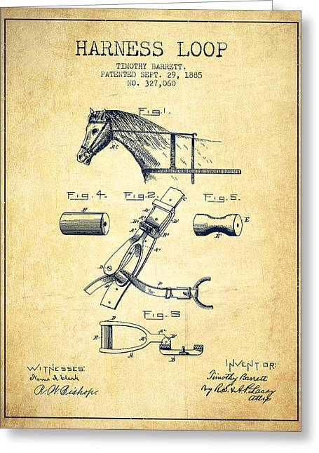 Tack Greeting Cards - Horse Harness Loop Patent from 1885 - Vintage Greeting Card by Aged Pixel