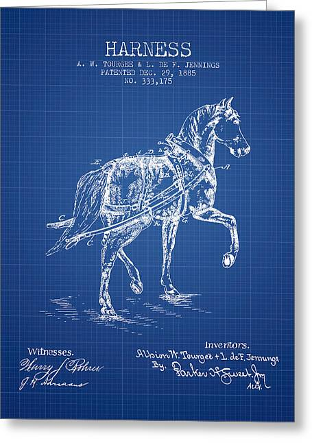Tack Greeting Cards - Horse harness patent from 1885 - Blueprint Greeting Card by Aged Pixel