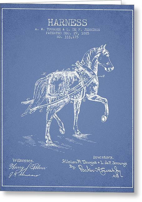 Tack Greeting Cards - Horse harness patent from 1885 - Light Blue Greeting Card by Aged Pixel