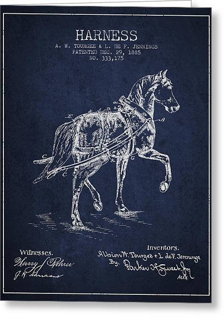 Tack Greeting Cards - Horse harness patent from 1885 - navy Blue Greeting Card by Aged Pixel