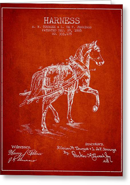 Tack Greeting Cards - Horse harness patent from 1885 - Red Greeting Card by Aged Pixel