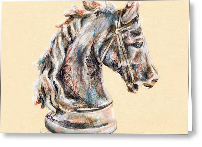 Chess Piece Drawings Greeting Cards - Horse head drawing  Greeting Card by Tamaki Hamano