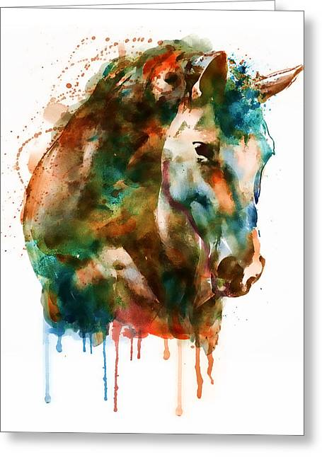 Horse Mixed Media Greeting Cards - Horse Head watercolor Greeting Card by Marian Voicu