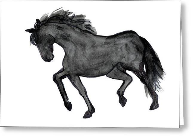 Jogging Drawings Greeting Cards - Horse Ill Greeting Card by Nancy Mauerman