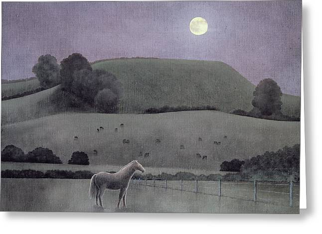 Moonlit Night Greeting Cards - Horse In Moonlight, 2005 Oil On Canvas Greeting Card by Ann Brain