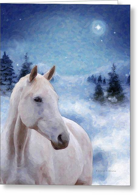 Snowy Night Night Greeting Cards - Horse in Winter Greeting Card by Kenny Francis