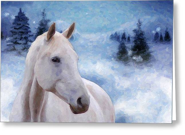 Snowy Night Greeting Cards - Horse in Winter Greeting Card by Kenny Francis