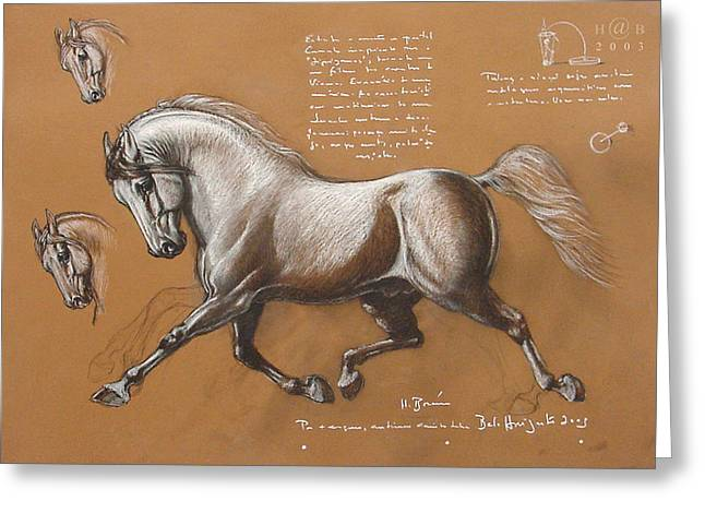 Renaissance Pastels Greeting Cards - Horse is Beautiful # 4 Greeting Card by House Brasil